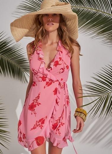 Morhipo Beach Desenli Elbise Pembe
